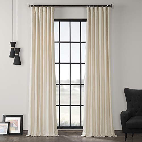 LN-XS1706-108 French Linen Curtain, Ancient Ivory, 50 x 108 - Ivory Lined Curtains