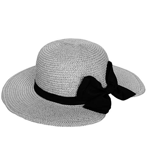 Price comparison product image Aerusi Women's [Grey] Mrs. Anderson Straw Hat Floppy with Ribbon Bow Tie Band