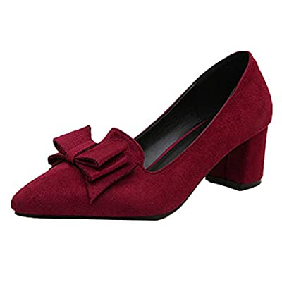 ANBOVER Womens Suede Block Mid-heel Slip On Classic Work Shoes Bowknot Dress Pumps