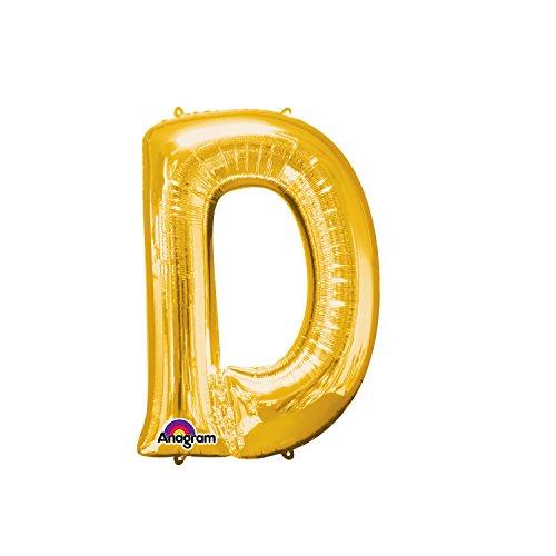 Regina 106472.0, Balão Metalizado Super Shape Letra D Pack, Dourado