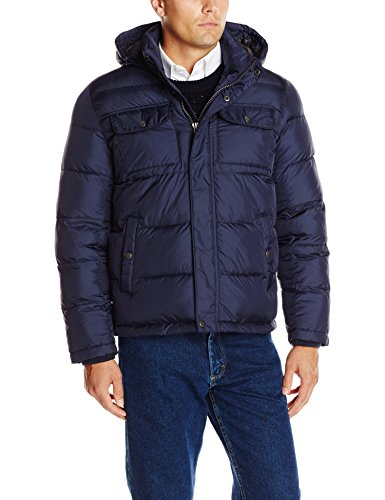 Tommy Hilfiger Men's Nylon Two Pocket Hoody Puffer, Midnight