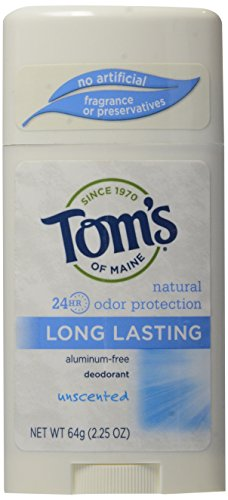 (Tom's of Maine Natural Deodorant Stick, Aluminum Free, Long Lasting, Unscented, 2.25)