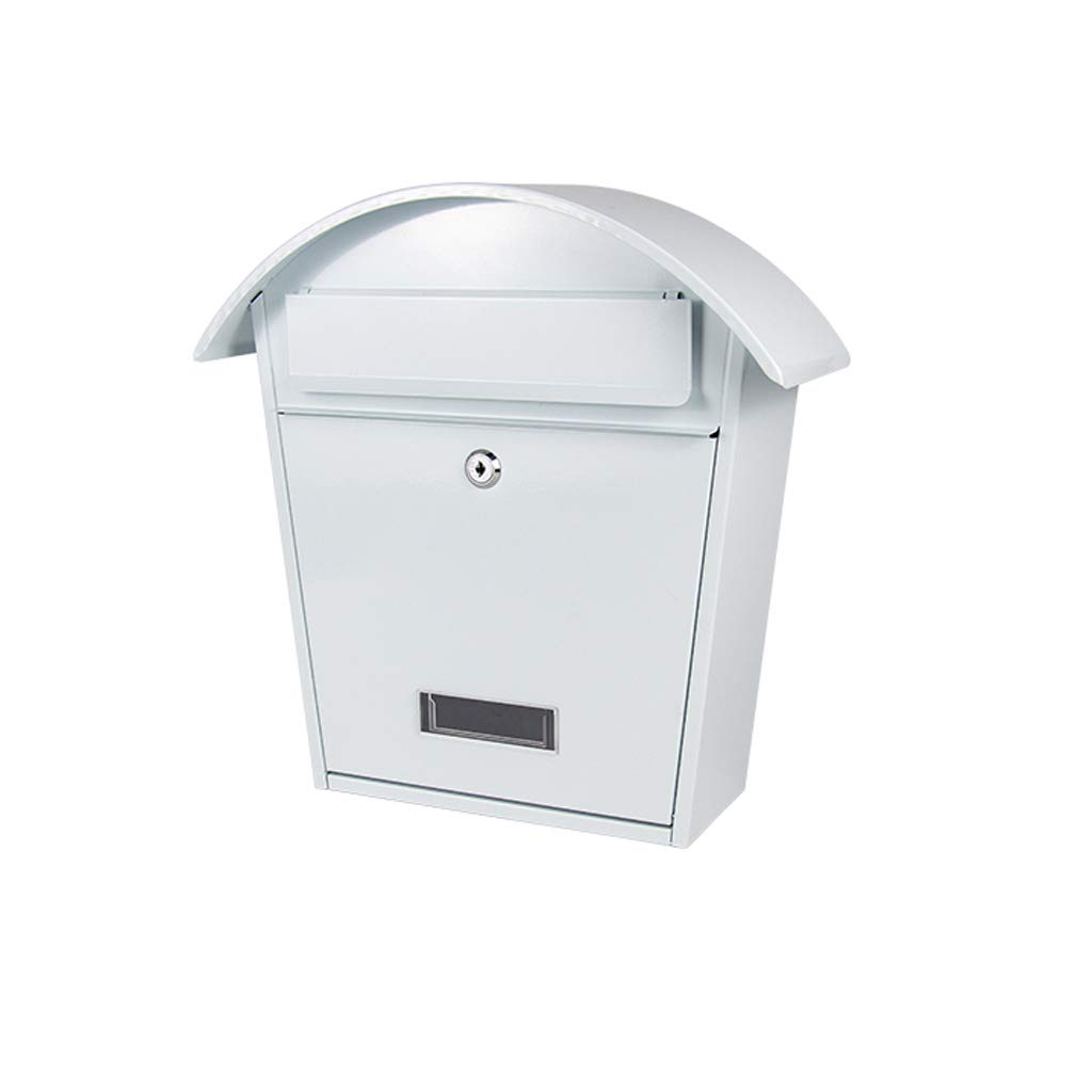 TLMY 錬鉄製のヨーロッパの新聞ボックスクリエイティブポスト防水メールボックス印刷ヴィラメールボックス屋外壁掛けホワイトメールボックス30.5×25×10.5センチ メールボックス   B07QCDWDX2