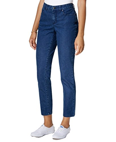 Charter Club Bristol Printed Skinny Ankle Jean (Medium Blue Combo Wash Medium Blue Dot, 12)