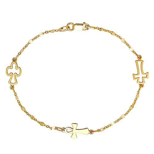 - Solid 14k Italian Yellow Gold Open Cross and Cable Chain 7-inch 3-Station Bracelet
