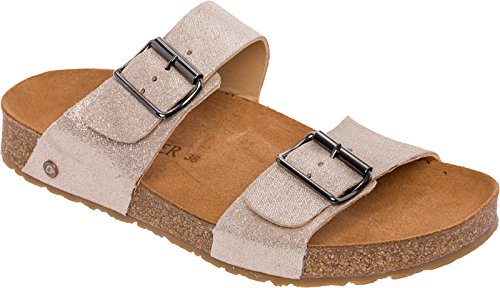 Haflinger Leather Andrea Slide Sandals (Gold Sparkle, 39 EU/8 US) by Haflinger