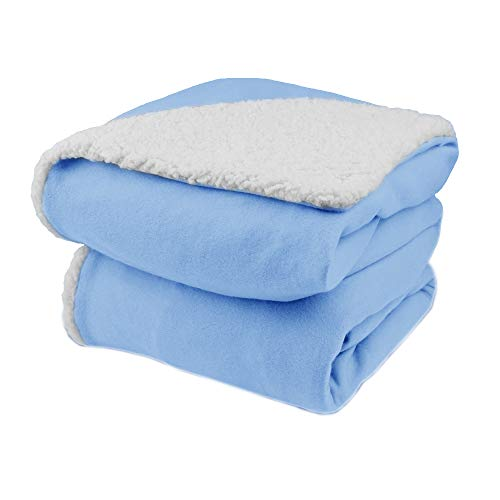 Biddeford Comfort Knit Electric Heated Throw Blanket with Natural Sherpa Cloud Blue