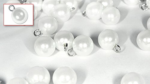 Set of Nylon/Plastic Shirt/Blouse Round Spherical Buttons (Natural Pearl Colour) Pack of 12 Pieces (ø11.5mm 1 Loop Hole) (FAUX PEARL) ()