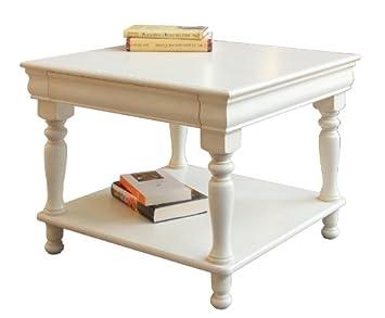 Mesa de centro madera blanco, mesita de salón en estilo ...