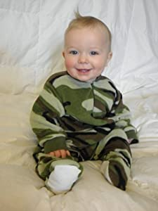 Little Boys Infant Toddler Green Camo Fleece Footed Pajamas Onesie Sleeper 12M - 4T