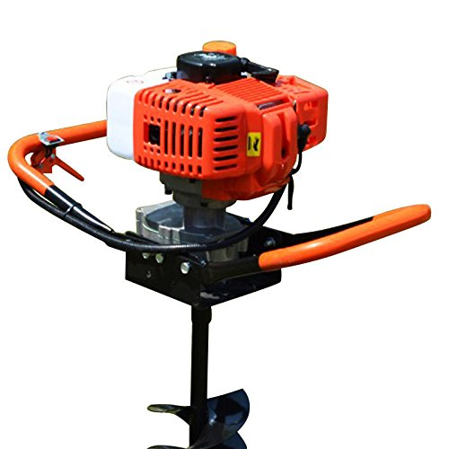 OUkANING 52cc 2-Stroke Petrol Earth Auger Post Hole Borer Ground Drill 2.4 ps Air-cooled+ 3 Auger Bits + Extension Bit