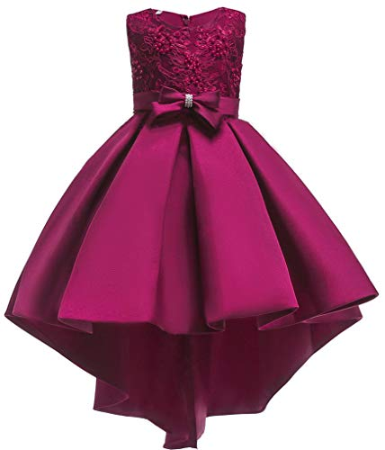 Shiny Toddler Big Girls Pleated Beaded High-Low Applique Embroidered Flower Girl Pageant Dance Party Dress,Burgundy,7-8 Burgundy Flower Girl Pageant Dress