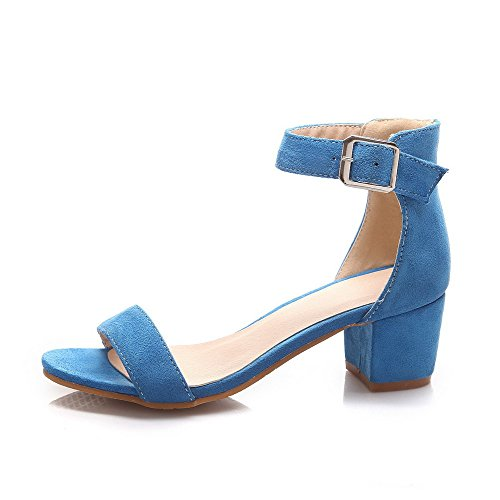 Allhqfashion Dames Solid Kitten Hakken Gesp Open Teen Sandalen Blauw