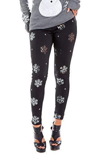 Tipsy Elves Women's Cute Sequined Snowflake Leggings for Christmas: M