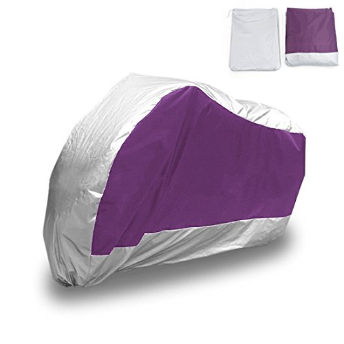 "uxcell XL 180T Rain Dust Motorcycle Cover Purple&Silver Outdoor UV Rainproof 96"" Fit to All Scooter & Mopeds Yamaha Honda Suzuki Kawasaki Ducati Bmw"