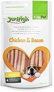 Vita Pet Jerhigh Chicken and Bacon Dog Treats, for Adult and Senior Dogs, Small/Medium/Large dogs, 400 g