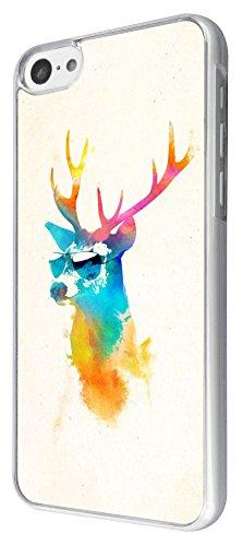 345 - Splash watercolor Deer Sunglasses Design iphone 5C Coque Fashion Trend Case Coque Protection Cover plastique et métal