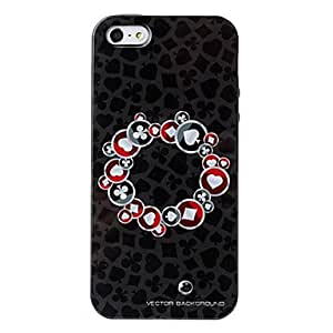 GHK - Black Round Poker Card Texture Pattern TPU Soft Case for iPhone 5/5S