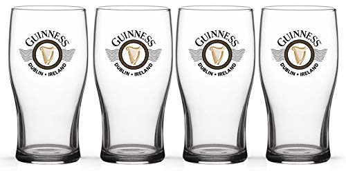 (Guinness CP86GUI Wings Tulip Pint Pack 4 piece Glass set, 16oz, Clear)