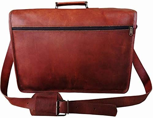 Laptop Messenger Bag 17.5 Inch, Vintage Canvas Leather Shoulder Bag, Durable Computer Bags Business Briefcases Satchel Bag Work Bags for Men and Women, Coffee