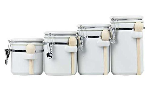 Home Basics CS44154 4Piece Ceramic Canister Set with Spoon, White (White Kitchen Set)
