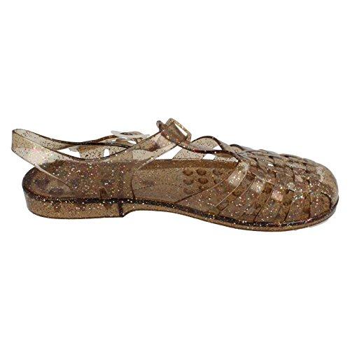 Bronze Sur De Dames F0713 Des Sandales De Paillettes Gelée De Place Boucle 5wx1v