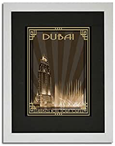 Address Hotel Down Town- Sepia With Gold Border F02-m (a3) - Framed