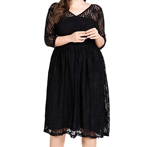- Answerl Women's Floral Lace Short Bridesmaid Dress Cocktail Party Dress Plus Size V Neck Long Sleeve Swing Lace Dresses Black