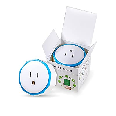 Smart Mini WiFi Plug Outlet Adaptor - Easy to Use and Control Anywhere - Intelligent Wireless Plug and Play with Countdown Timer - Works with IOS, Android, Alexa Voice Control, Google Home