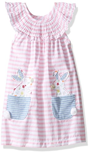Mud Pie Baby Girls' Sleeveless Smocked Neckline Sun Dress, Pink Stripes/Bunny, 6- 9 ()