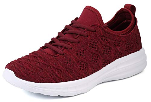 JOOMRA Women Walking Tennis Shoes Burgundy Lightweight for Gym Jogging Running Workout Sport Stylish Fashion Athletic Sneakers Size 8