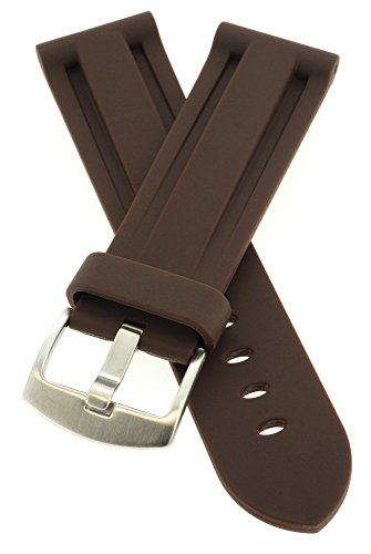 le Watch Band + Spring Bars, Premium PU Rubber, Brown, 24 mm (Panerai Rubber Band)