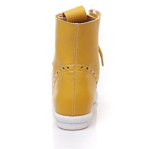 AgooLar Mujeres Material Suave Puntera Abierta Plano Cordones Sólido Sandalia Amarillo