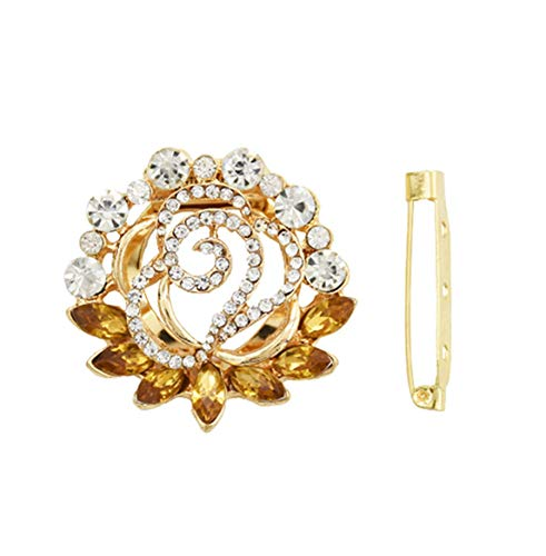 primerry Generous Shining Gold Plated Alloy Full Crystal Rhinestones Flower Buckle Brooch Scarf Accessories (Yellow)
