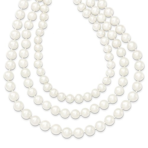 14k Gold 8-9mm White FW Cultured 3-Strand Pearl Necklace (Strands 9mm 3)