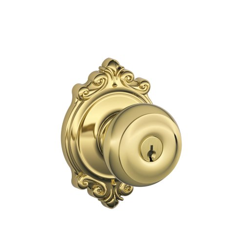 Schlage F51A GEO 505 605 BRK Georgian Knob with Brookshire Trim Keyed Entry Lock, Bright Brass