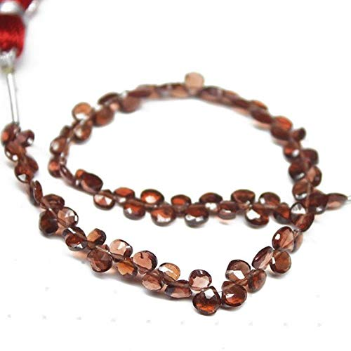 Beads Bazar Natural Beautiful jewellery Natural Mozambique Garnet Faceted Heart Drop Briolette Gemstone Loose Craft Beads Strand 7