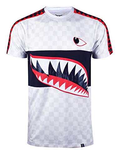 SCREENSHOTBRAND-S11848 Mens Hipster Hip-Hop Premiun Tee - Stylish Longline Fashion Shark Jaws Print Trimmed -