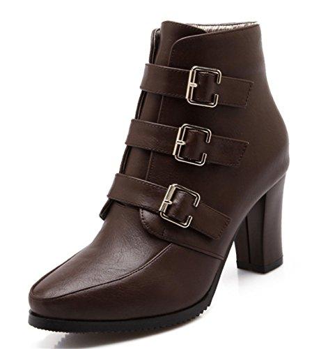 YE Damen Chunky High Heels Spitze Plateau Stiefeletten mit Blockabsatz Schnallen Reißverschluss Herbst Winter Short Ankle Boots Schuhe Braun