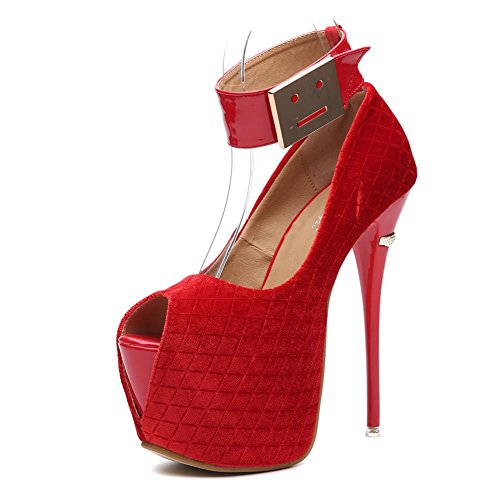 Schwarz Sandalen Sexy UK Riemen rot Hacke EUR Nachtclub Kleid Fisch Plattform Mund Knöchel 35 Stilett Arbeit Damen 3 Hoch Party 5vUnn0
