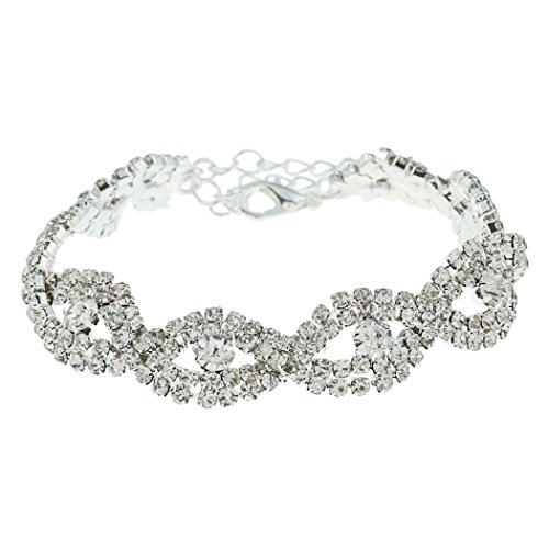 SUNSCSC Women's Silver Plated Clear Crystal Rhinestone Bangle Wedding Cuff Bracelet (White)