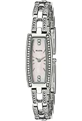 Bulova Women's 96L208 Crystal Analog Display Quartz Silver Watch