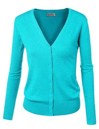 BIADANI Women Button Down Long Sleeve Soft V-Neck Cardigan Sweater Aqua Small