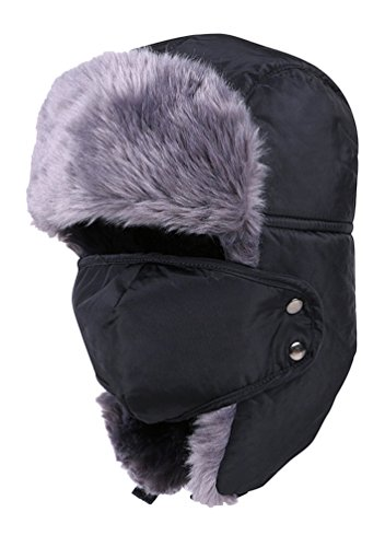 EachWell Unisex Women Men Winter Warm Windproof Ushanka Trapper Hat Face Mask Black-1 by EachWell