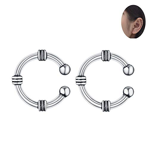 (Fashion Ear Cuffs for Non Pierced Ears Vintage Punk Sterling Silver Cartilage Earrings for Women Teen Girls Clip On Wrap)