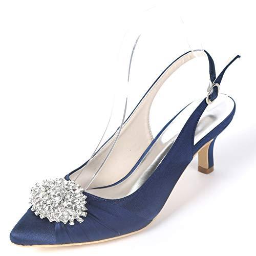 Shoes YC Satin Platform Buckle 6cm High Heels Navy White L Rhinestones FY160 Wedding Women Blue RtdwnAq