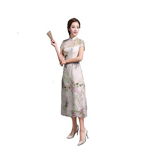Qipao New Chinese Qipao Retro Cheongsam Improved Cheongsam Medium length cheongsam Short sleeves Summer by YY-Chipao