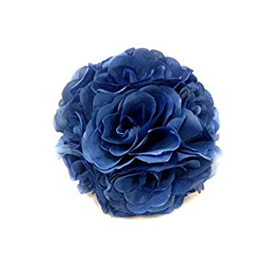 Ben Collection 10 Pack of Fabric Artificial Flowers Silk Rose Pomander Wedding Party Home Decoration Kissing Ball Trendy Color Simulation Flower (Royal, 20cm) 19