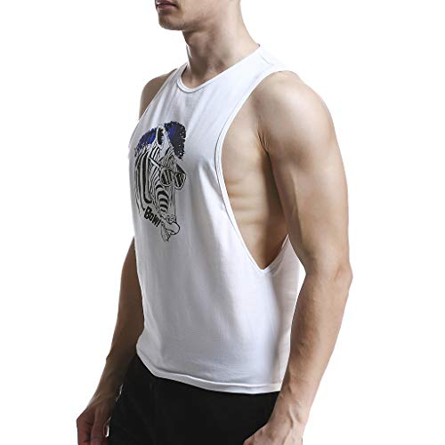 Allywit-Mens t Shirts,Sleeveless Skull Print Vest Tank Top Casual Blouse Sweatshirts Big and Tall White by Allywit-Mens (Image #2)