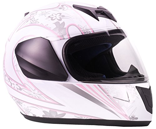 Youth Kids Full Face Helmet with Shield Motorcycle Street MX Dirtbike ATV - White Pink Butterfly (Large) by Typhoon Helmets